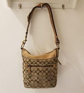 COACH Hobo Khaki Canvas and Tan Leather Handbag